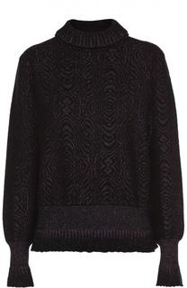 Вязаный пуловер с металлизированной отделкой и оборками Lanvin