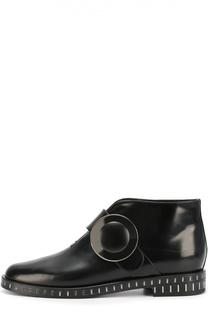 Кожаные ботинки с круглой пряжкой Giorgio Armani