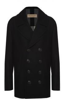 Двубортное пальто из смеси шерсти и кашемира Burberry Brit