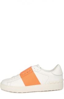 Кожаные кроссовки Open с контрастной вставкой Valentino