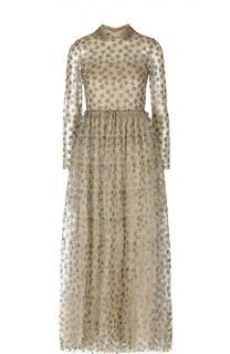 Платье-макси с кружевной отделкой и металлизированной отделкой Valentino