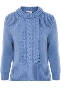 Пуловер с укороченным рукавом и фактурной отделкой Moncler