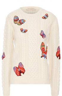 Пуловер фактурной вязки с вышивкой в виде бабочек Valentino
