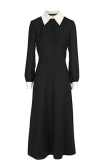 Приталенное платье-рубашка с контрастными воротником и манжетами Saint Laurent