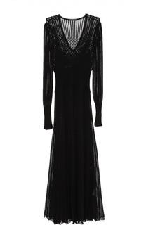 Полупрозрачное вязаное платье с V-образным вырезом Alexander McQueen