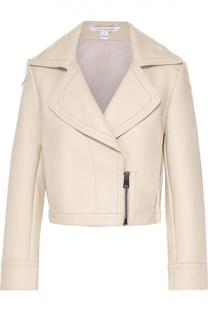 Укороченная кожаная куртка с широкими лацканами Diane Von Furstenberg