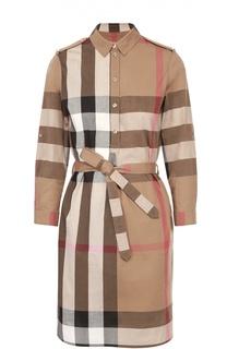 Хлопковое платье-рубашка с поясом и  погонами Burberry Brit