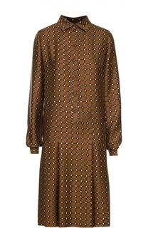 Шелковое платье-рубашка со складками Kiton