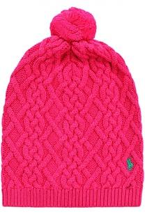 Вязаная шапка с фактурным узором и вышивкой в виде логотипа бренда Polo Ralph Lauren