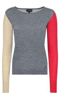 Шерстяной пуловер с контрастными рукавами Armani Jeans