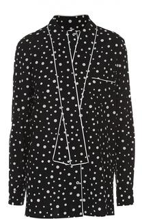 Шелковая блуза в горошек с воротником аскот Dolce & Gabbana