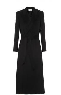 Удлиненное кашемировое пальто с поясом Saint Laurent