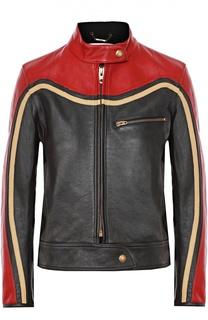 Укороченная кожаная куртка с контрастной отделкой Chloé