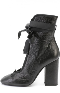 Кожаные ботильоны Ballet на шнуровке Valentino
