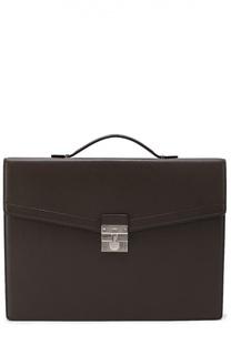 Кожаный портфель с тиснением Kiton
