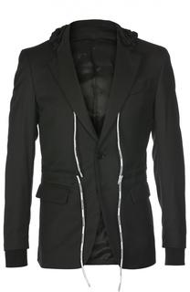 Пиджак с поясом на кулиске и капюшоном Moschino