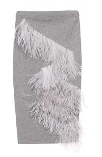Вязаная юбка-карандаш с отделкой из перьев No. 21
