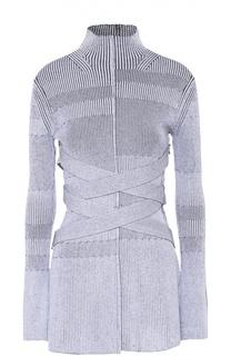 Удлиненный пуловер фактурной вязки и воротником-стойкой Proenza Schouler