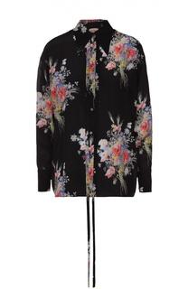 Шелковая блуза прямого кроя с цветочным принтом No. 21