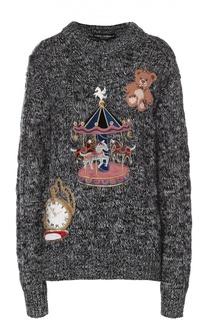 Кашемировый пуловер фактурной вязки с яркой вышивкой Dolce & Gabbana