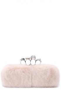 Клатч Knuckle Box из меха норки с отделкой кристаллами Alexander McQueen