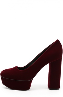 Текстильные туфли на устойчивом каблуке и платформе Casadei