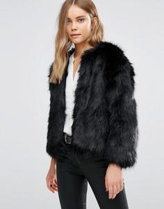 Черная меховая куртка Jayley Luxurious - Черный