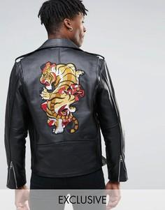 Кожаная байкерская куртка с нашивкой сзади Reclaimed Vintage - Черный
