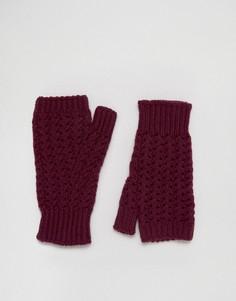 Вязаные перчатки без пальцев Johnstons - Фиолетовый