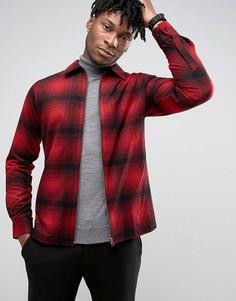 Клетчатая куртка-рубашка на молнии Selected Homme Plus - Красный