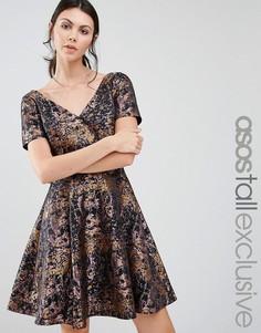Жаккардовое платье для выпускного с абстрактным животным принтом ASOS TALL - Мульти