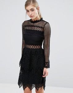 Кружевное платье с длинными рукавами Miss Selfridge - Черный
