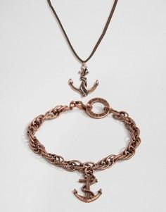 2 предмета - ожерелье с якорем и браслет Icon Brand - Золотой
