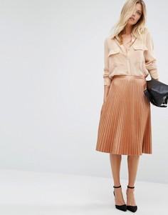 Плиссированная юбка миди бронзового цвета Boss Orange - Медный