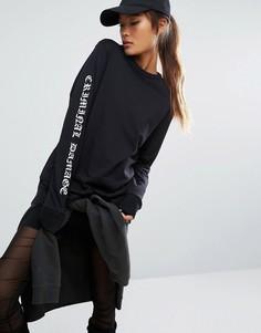 Oversize-лонгслив с логотипом на рукаве Criminal Damage - Черный