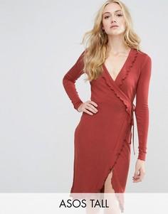 Платье в рубчик с запахом и оборкой ASOS TALL - Оранжевый