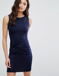 Платье мини с отделкой в стиле узла спереди Girls On Film - Темно-синий