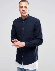 Темно-синяя оксфордская рубашка классического кроя Weekday Bad Times - Синий