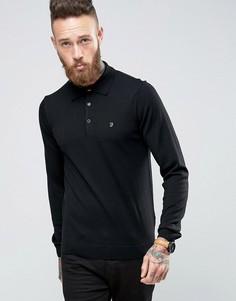 Черная трикотажная футболка-поло слим из мериносовой шерсти Farah - Черный