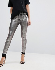 Супероблегающие джинсы цвета металлик с высокой талией Replay - Серебряный