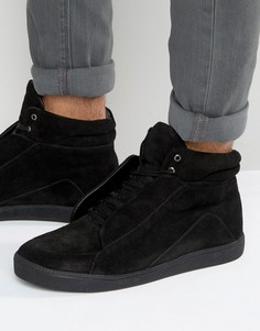 KG By Kurt Geiger Hi Top Trainers In Black Suede - Черный