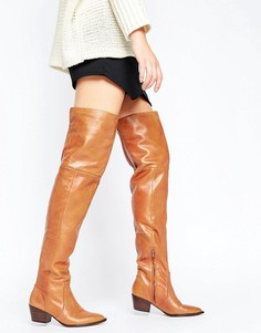 Кожаные сапоги-ботфорты в стиле вестерн ALDO Deedee - Рыжий