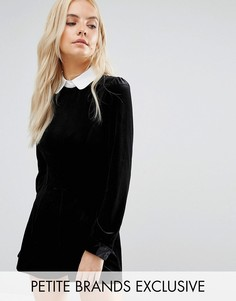 Fashion Union Petite Velvet Playsuit With Contrast Collar And Tie Detail - Черный