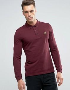 Бордовая меланжевая футболка‑поло с длинными рукавами и логотипом‑орлом Lyle & Scott - Красный
