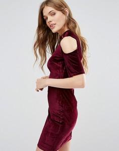 Бархатное облегающее платье QED London - Красный