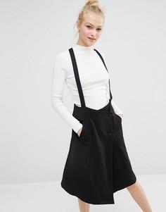 Строгая юбка с лямками Monki - Черный