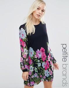 Цельнокройное платье с цветочным принтом Yumi Petite - Темно-синий