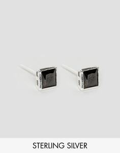 Серебряные серьги-гвоздики 5 мм с черным камнем Reclaimed Vintage - Черный