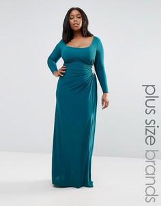 Платье макси с декоративной отделкой Goddiva Plus - Синий