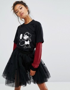 Лонгслив с принтом Микки-Мауса Lazy Oaf X Disney - Черный